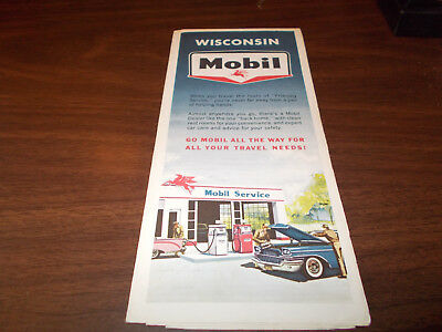 1963 Mobil Wisconsin Vintage Road Map