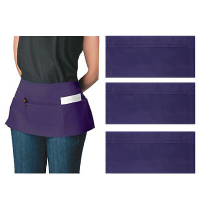 3-Pocket Canvas Waist Apron Bulk Set Short Waitress Waiter Server Half Men Women