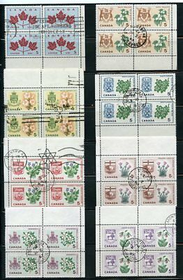 Canada Provincial Flowers And Coats Of Arms, Used Blocks With Nice Cancels