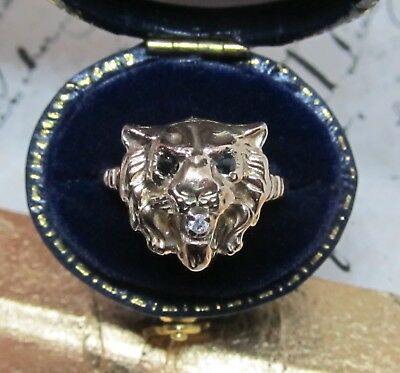 Antique Victorian Lion Head Ring Diamond Onyx 14k Yellow Gold Figural Vtg Sz 6