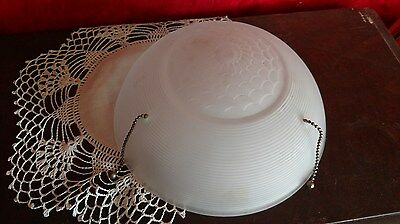 White Frosted Ceiling Glass Lamp Shade Dome Light 3 Hole Art Deco Nouveau VTG