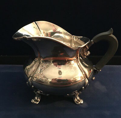 Antique  French .950 Sterling Silver Creamer Pitcher with Ebony Handle, Minerva