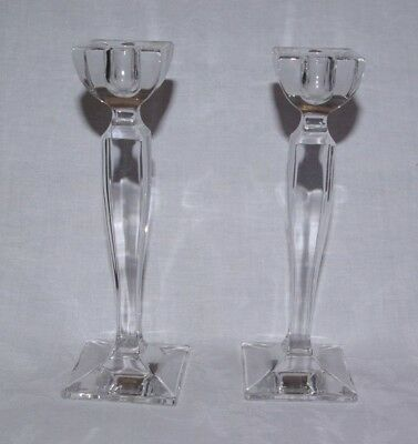 """Pair of Crystal Art Glass 8"""" Nachtmann Candlesticks Candle Holders Signed"""