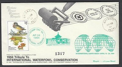 CANADA 1994 $7 WATERFOWL CONSERVATION, Cinderella cover and Proof print