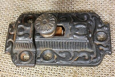 "Cabinet catch Cupboard Latch antique rustic primitive cast iron knob 3"" vintage"