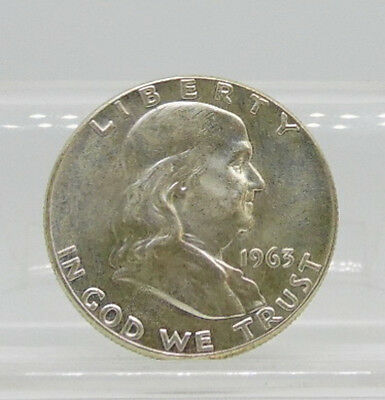 1963 US Mint Franklin 90% Silver Half Dollar 50 Cent Coin AU ~ Free Shipping