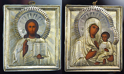 2 x IKONE Ikonen 19.Jh. Silver - Silber Russian Icons 19th Century