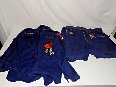 Vintage Boy Scout Uniform BSA Cub Scouts Blue Shirt Pants Belt With Buckle