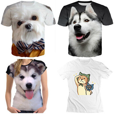 Cute animals bowknot Dog print 3D T-Shirt Women Men Casual Short Sleeve Tops Tee