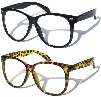BIG OVERSIZE BLACK FRAME XXL FRONT Classic CLEAR LENS RETRO HIPSTER GLASSES New