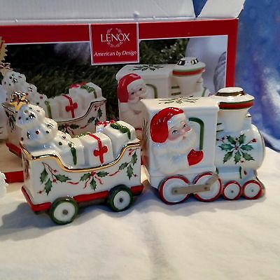 Lenox Santa and Train Holiday Salt and Pepper Set NEW IN BOX