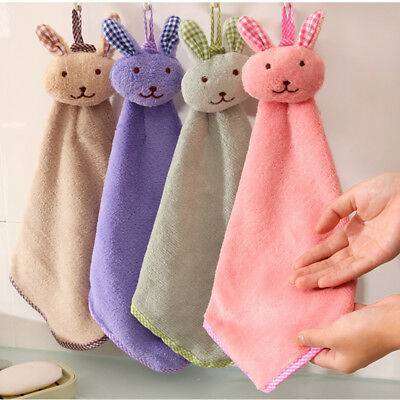Baby Hand Towel Cartoon Animal Rabbit Plush Kitchen Soft Hanging Bath Wipe Towel