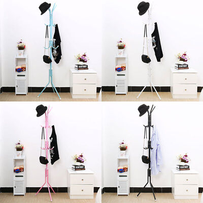 12 Hook Coat Hanger Stand 3-Tier Hat Clothes Rack Metal Tree Style Storage