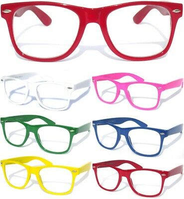 COLOR FRAME Clear Lens Glasses Horn Rim RETRO Nerd Hipster Fashion Cool Eye Wear