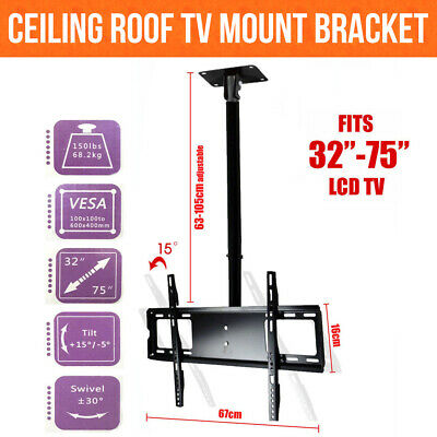 "Ceiling Roof TV Mount Adjustable Wall Bracket Tilt 32""-75"" LCD LED Plasma"