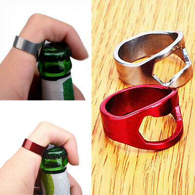 2Pieces Stainless Steel Finger Ring Wine Bottle Opener Beverage Can Opener