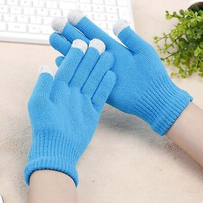 [1-10pairs] WOMEN LADY MEN KNITTED WOOLY WINTER WARM TOUCH SCREEN GLOVES-BLUE