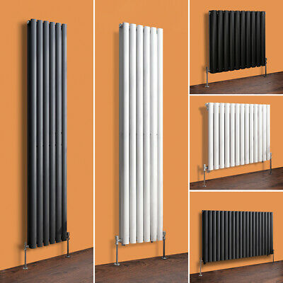 New Vertical Designer Bathroom Tall Oval Column Radiator White Anthracite Black
