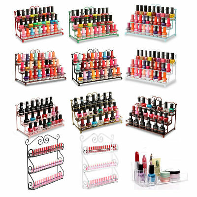 Nail Polish Rack 3 Tiers Metal Heart Design Organizer Table Top Display Stand