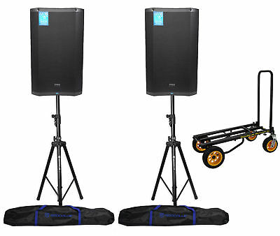 """(2) PRESONUS AIR15 15"""" 1200w Active PA DJ Speakers+Hydraulic Stands+Rolling Cart"""