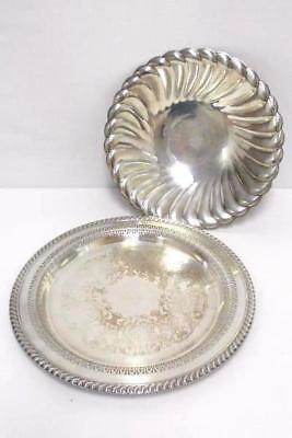 WM Rogers Waverly 3835 Silver Plated Bowl Round Rogers & Sons 3370 Serving Tray
