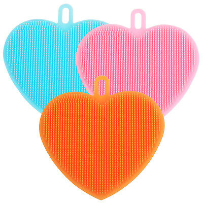 Pack of 3 Multipurpose Silicone Heart Shaped Scrubbing Pads TRIXES