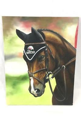 Original Oil Painting of Brown Show Horse Grand Prix by Rose M. Sullivan