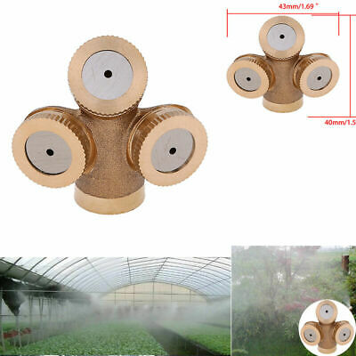 Brass Hose 3 Hole Outdoor Garden Misting Cooling Irrigating System Mist Nozzles