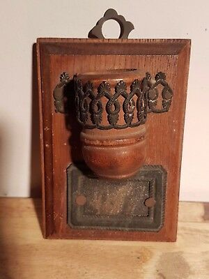 Antique arts and crafts wall mount wood match safe holder with striker