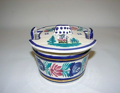 HB Quimper Breton Man French European Pottery Hand Painted Butter Tub with Lid