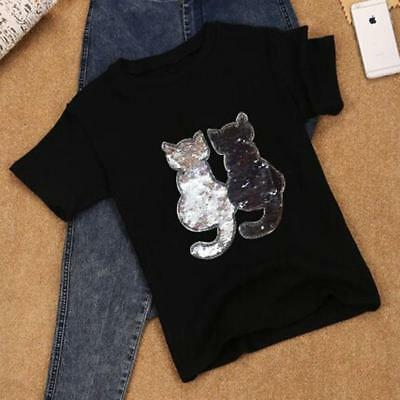 Sequins Cat Cloth Applique Patch Clothing Embroidery Sewing Craft DIY Gift Z