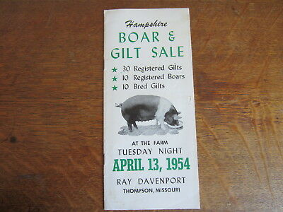1954 Hampshire Boar & Gilt Sale Agriculture Advertising Livestock Thompson MO