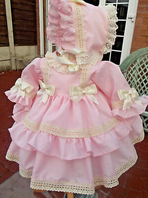 Dream 0-2 Years Baby Frilly Spanish  Lined Pink Cream Dress & Bonnet Or Reborn