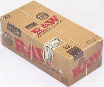 RAW Classic 1 1/2 (1.5) Natural Unrefined Rolling Papers 25 Packs (Full Box)