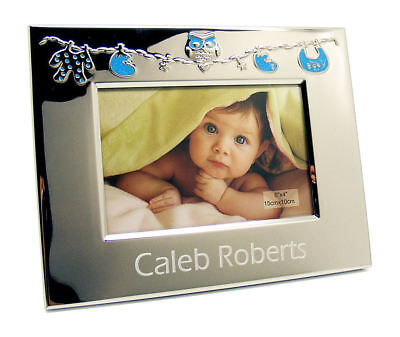 SILVER ENGRAVED Children Photo Frame For CEREMONY Godparents Church ...