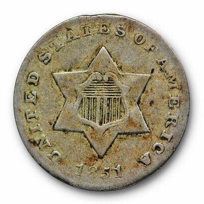 1851 O Three Cent Silver Piece Extra Fine XF New Orleans Better Date Coin #8490