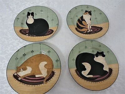 Oneida Sakura Warren Kimble Fat Cats Dessert/Salad Plates Set of 4 EUC!!