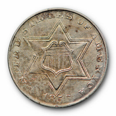1856 Three Cent Piece Silver About Uncirculated AU Original US Type Coin #4335