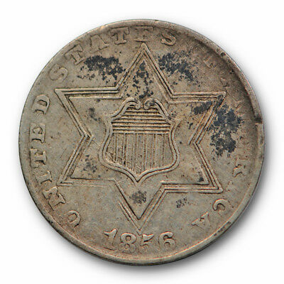 1856 Three Cent Silver Piece Extra Fine to About Uncirculated 3cs US Coin #7946