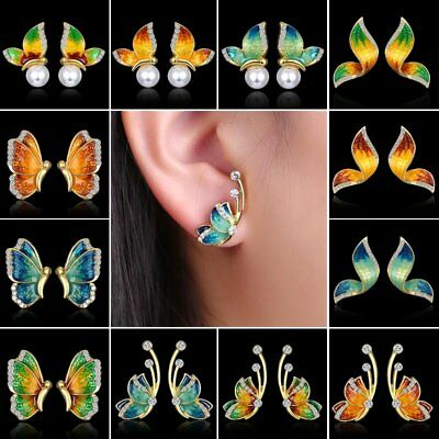 Women Charm Crystal Rhinestone Pearl Flying Butterfly Stud Earrings Jewelry Gift