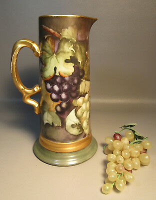 """12"""" Tall Pouyat Limoges Tankard Grapes & Leaves w/Lush Gold Handle Artist Signed"""