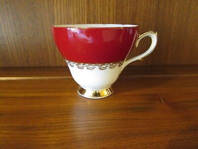 Sutherland~Vibrant Red with gold filigree~Tea Cup