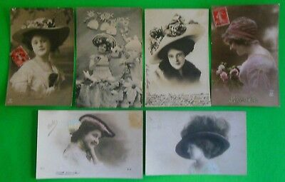 Lot of 6 Antique Vintage FRENCH RPPC Real Photo Postcards Sexy Lady's-Huge Hats
