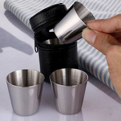 4pcs Spirits Cup Stainless Steel Whisky Jigger Bar Camping 35ML W Leather  UKYQ