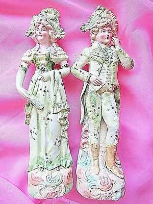 "MAGNIFICENT PAIR of BISQUE FIGURINES  "" MAN & WOMAN""  9 "" (23cm) perfect"
