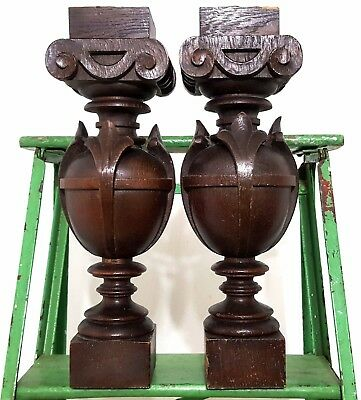 Gothic Column Matched Pair Antique French Hand Carved Wood Post Pillar Piedestal