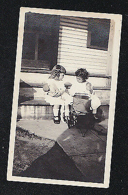 Vintage Photograph Two Adorable Little Girls Playing With Dolls on Porch Steps