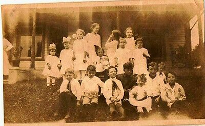 Old Vintage Antique Photograph Huge Group of Children All Wearing White