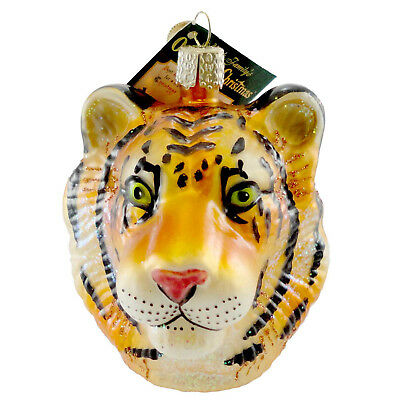 Old World Christmas TIGER HEAD Glass Ornament Bengal Stripes Tiger 12234