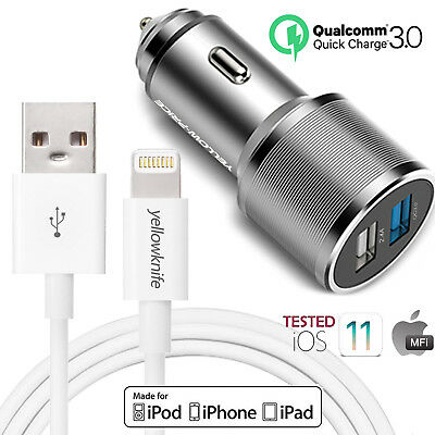 6FT Certified Lightning USB Cable+Rapid Car Vehicle Charger F iPhone 8/7/6S/iPod